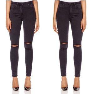 Black Wash Distressed Mid Rise Skinny Stretch Jean